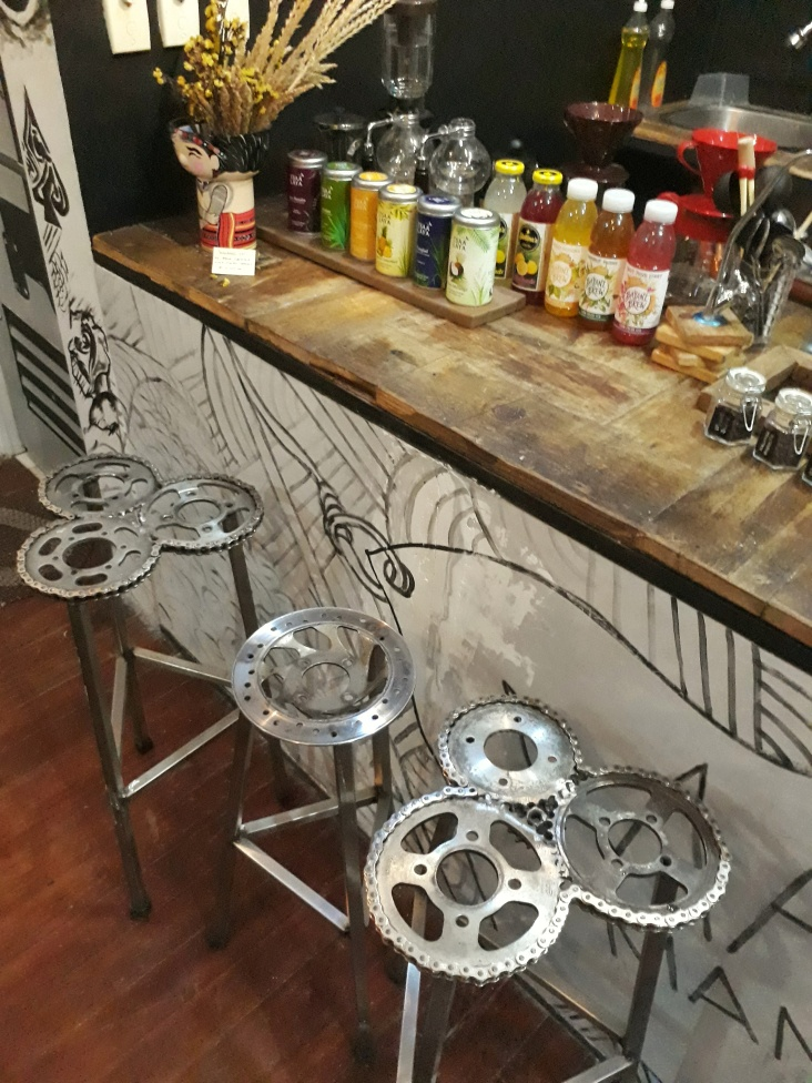 Statement pieces used as bar stool. Neat!